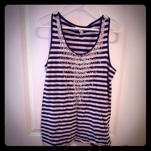 Black and Gray Striped Tank with Rhinestone